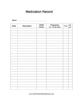 Printable Medication Record Medication Log Medication Chart Printable Medication Chart