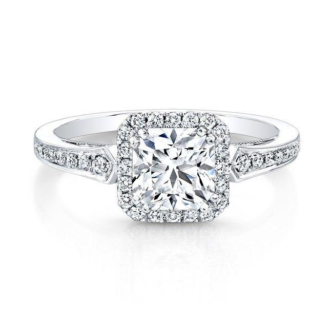 18K White Gold Vintage Inspired Square Diamonds Halo Engagement RingI Like The Wedding RingsWedding