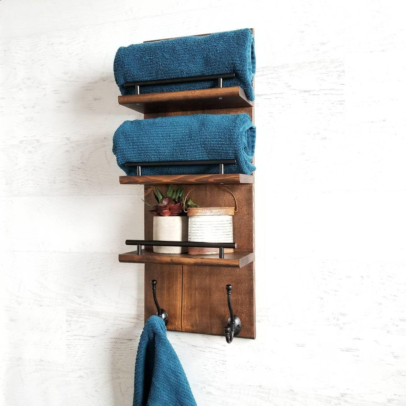 3 Tier Bathroom Floating Shelf Organizer, Bath Towel Rack