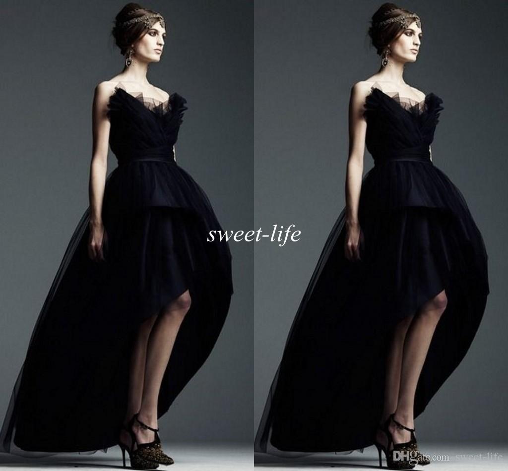 Short front long back prom dresses black vintage cheap ball