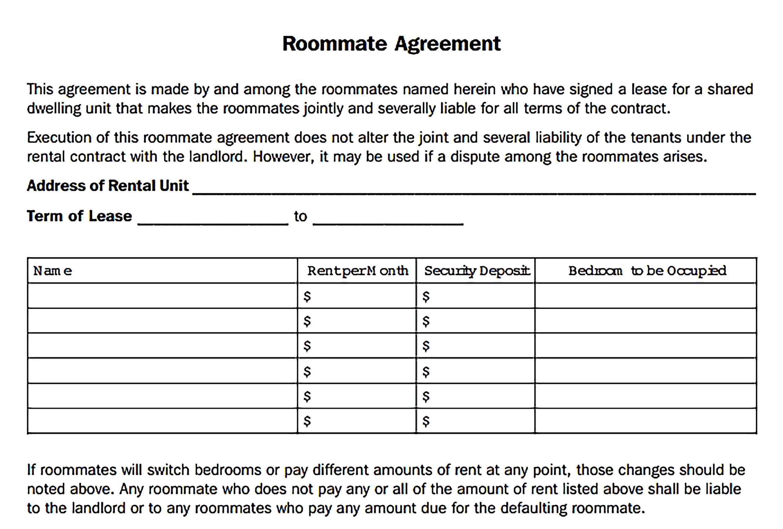 Roommate Rental Agreement Sample Template in 2020 | Rental ...
