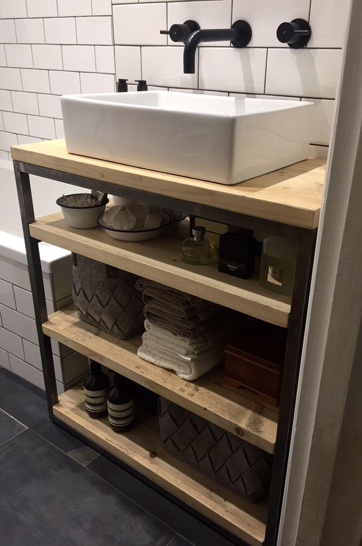 Industrial Style Bathroom Basin Cabinet - www.reclaimedbespoke.co.uk ...