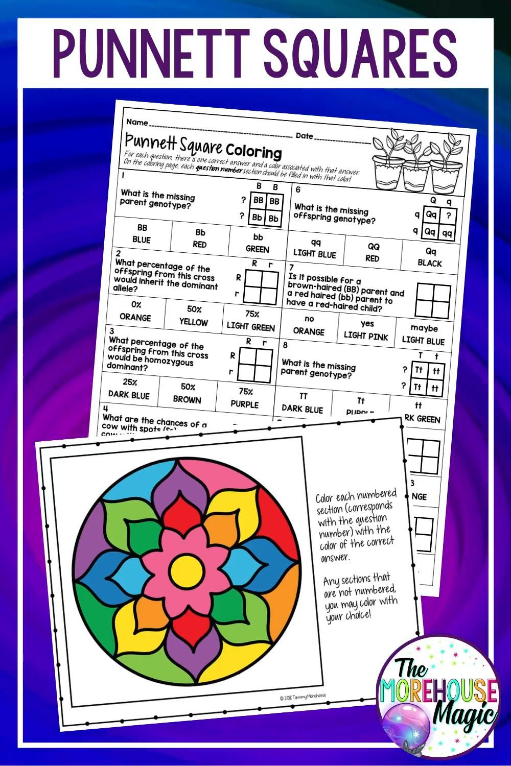 Punnett Squares Science Color By Number Activity Video Middle School Life Science Activities Life Science Middle School Middle School Science [ 1500 x 1000 Pixel ]