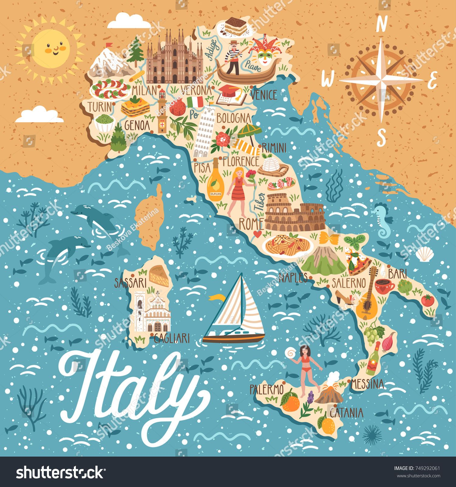 Vector stylized map of Italy. Travel illustration with italian ...