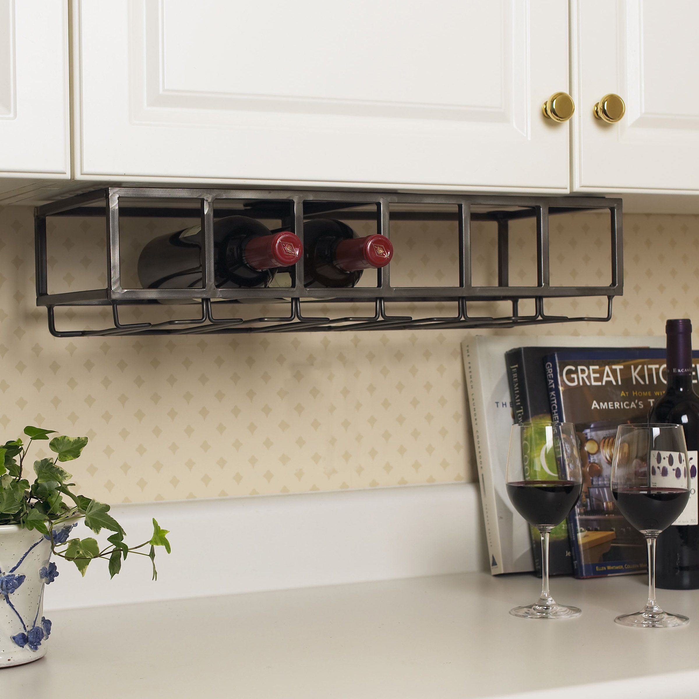 under cabinet wine glass rack. Iron 6-Bottle Under Cabinet Wine Rack - $59.99 @hayneedle.com Glass