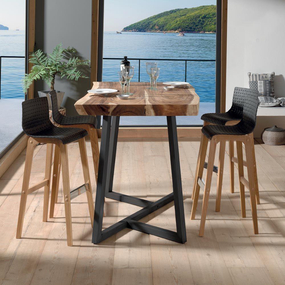 Avec La Table Haute Kuma Vivez Un Fascinant Voyage Table Haute Cuisine Table Haute Bois Table Haute Industrielle