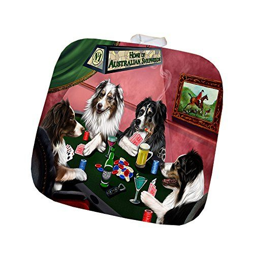 Home Of Australian Shepherd 4 Dogs Playing Poker Pot Holder Dogs Playing Poker Australian Shepherd Animal Lover