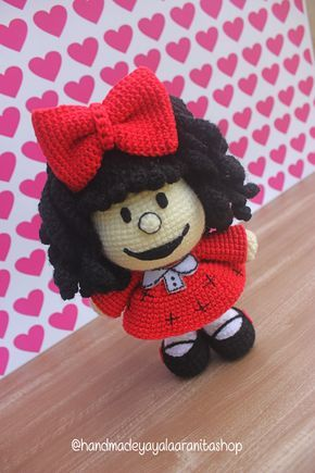 Muñeca amigurumi, Mafalda, juguete de ganchillo de dibujos animados, hecho a mano, Quino, Argentina, regalo para niña, interior, presente, Caricatura, muñeca