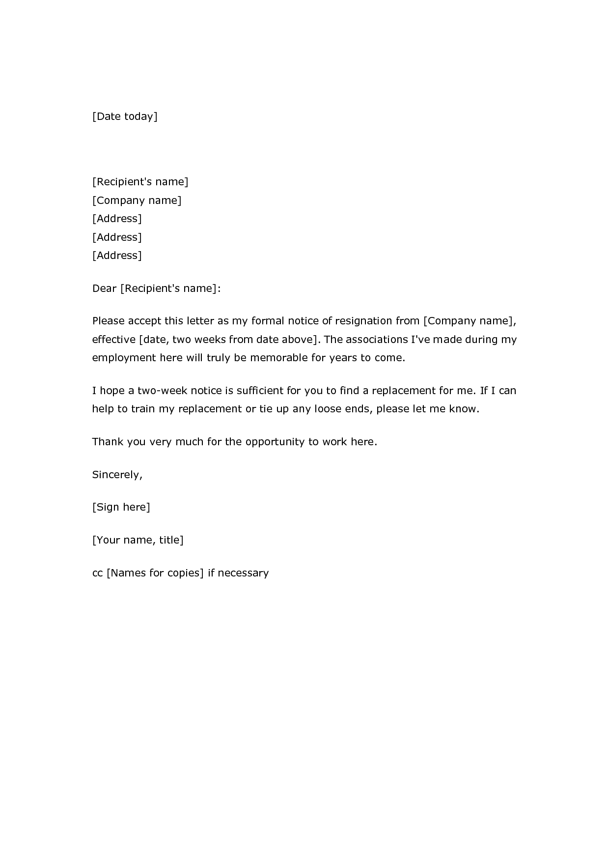 letter resignation samples two weeks notice sample resume - Two Weeks Notice Format