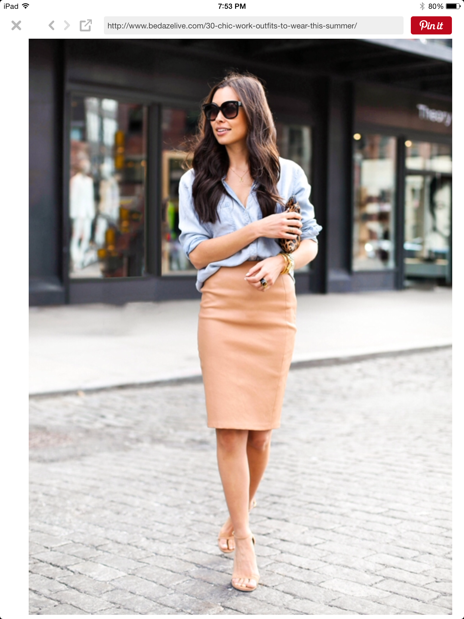 Denim Button Up Camel Colored Pencil Skirt