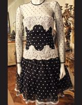 Vintage polka dot sweetheart lace dress - Marshal Field & Co.