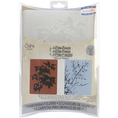 Sizzix Texture Fades A2 Embossing Folders Poinsettias Winter