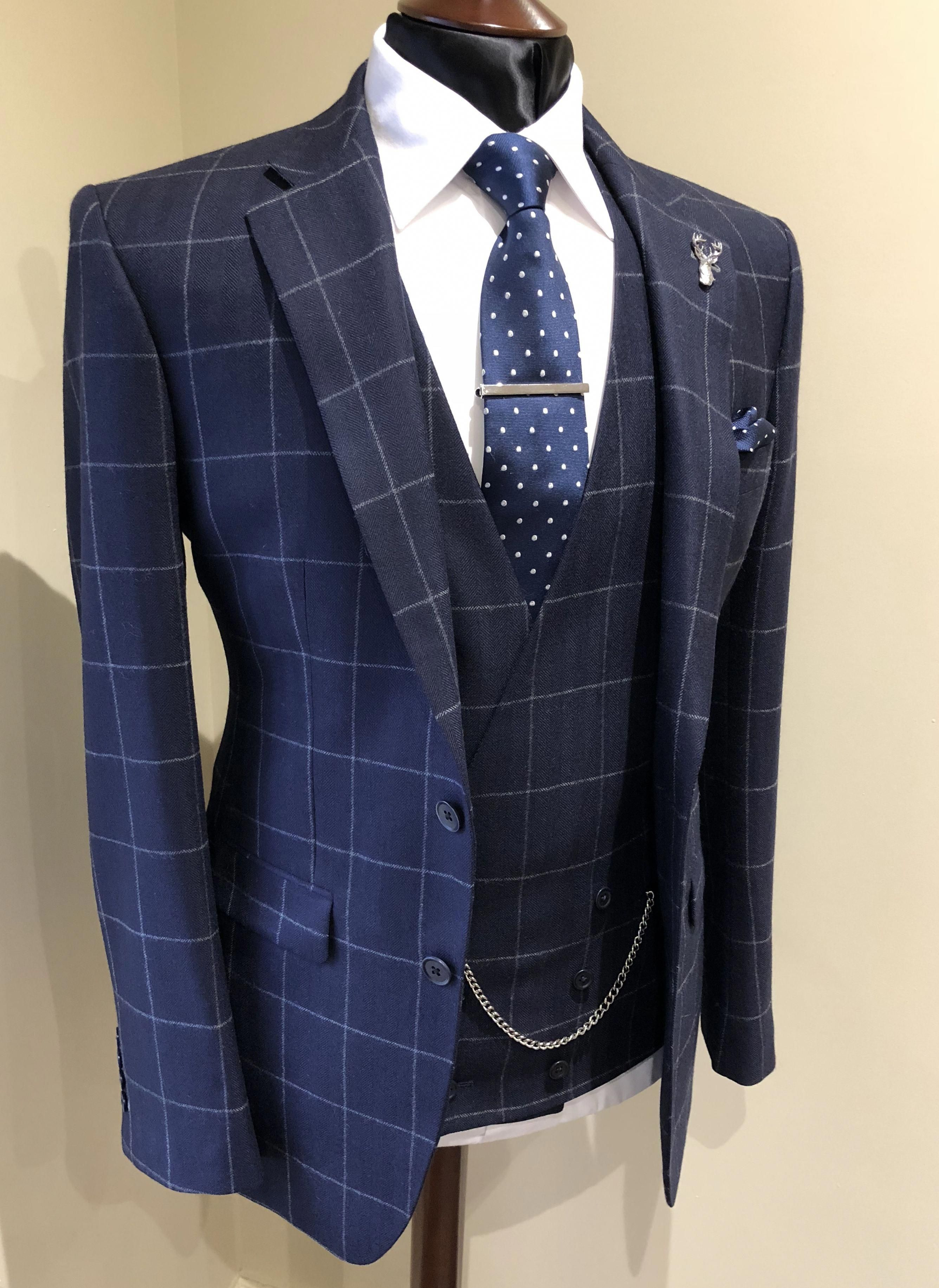 variety styles of 2019 latest design new products Blue windowpane bespoke suit | groom wedding suit ...