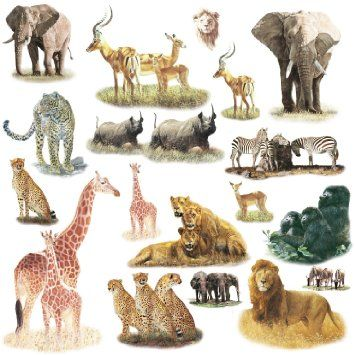 Awesome RoomMates Repositionable Childrens Wall Stickers Safari: Amazon.co.uk:  Kitchen U0026 Home Awesome Ideas