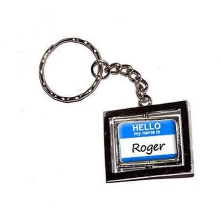 Hello My Name Is Roger New Keychain Ring, Silver