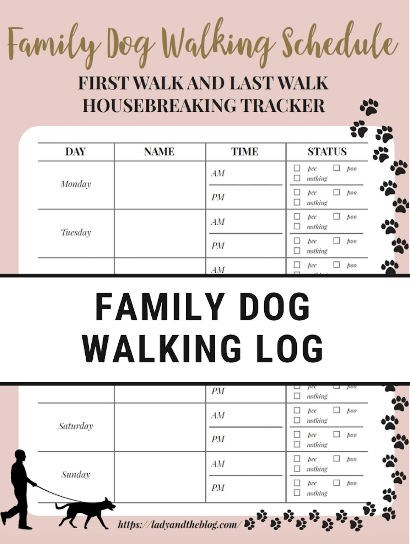 Free Printable Dog Walker Log