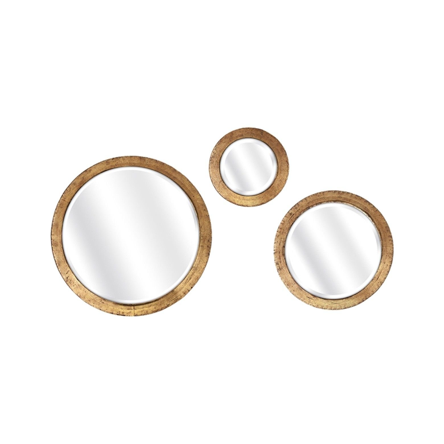 This Aurora 3-piece mirror set is more than a simple home accessory; it's a chic accent piece. The antique gold ring details provide an elegant aesthetic, and the sleek design is easy to hang. These Aurora mirrors have an inspiring combination of design, functionality, and sophistication that will enhance any décor theme with style and charm for many years to come.
