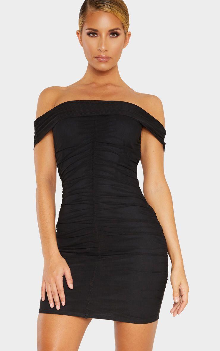 Black mesh bardot ruched bodycon dress ruched bodycon