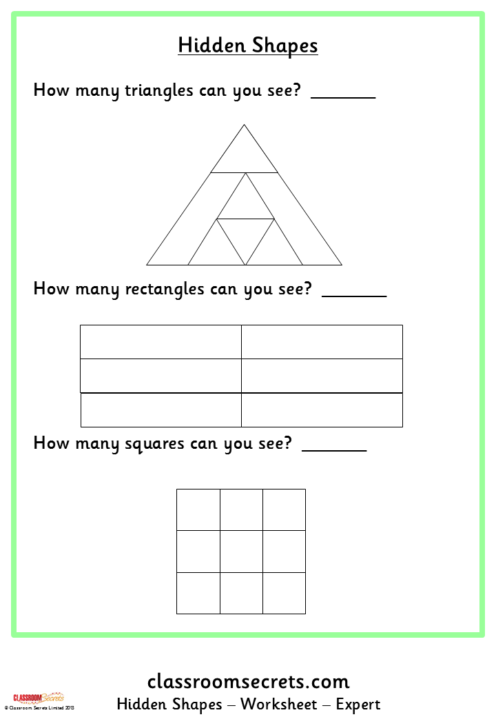Worksheets for hidden shapes. Aimed at Primary Key Stages 1 and 2 ...