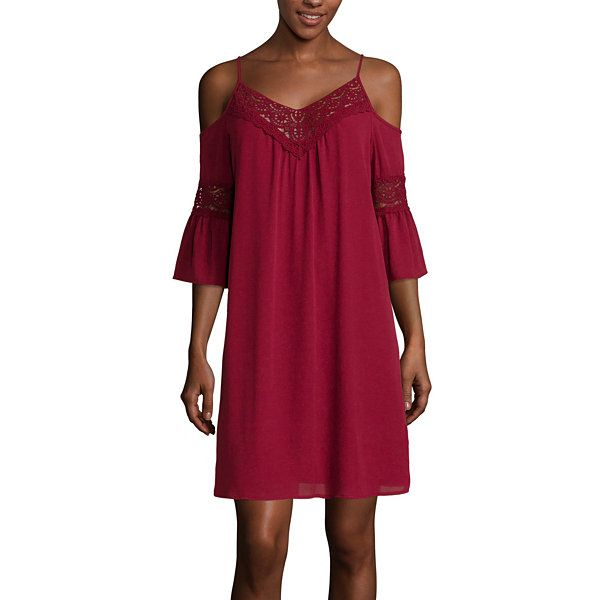 33eb063583 City Triangles® 3 4-Sleeve Cold-Shoulder Chiffon Dress- Juniors - JCPenney