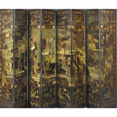 A Chinese Eight Panel Coromandel Lacquer Screen 18th