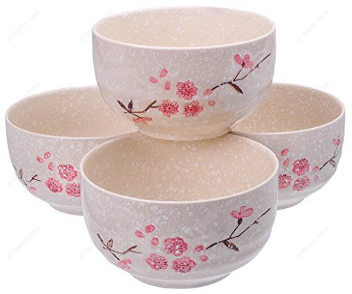 M V Trading Sn6605s4 Ceramic Ramen Pho Soup Noodle Bowl With Sakura Design 16 Ounces 2 Cups 5 Inches W X 3 Inches H Set Noodle Bowls Pho Soup Bowl
