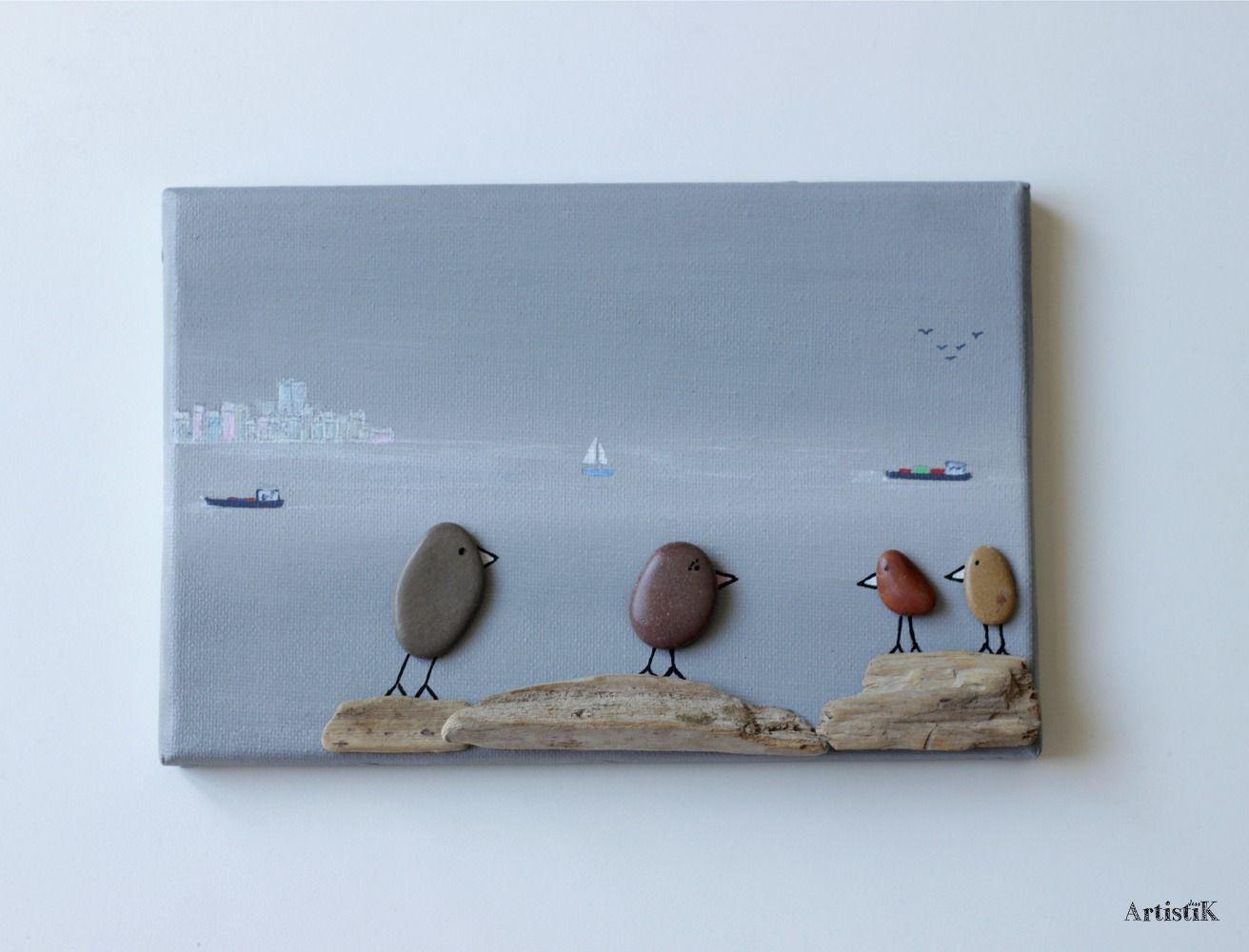 Tableau galets oiseaux bois flotté fond gris déco humoristique ...
