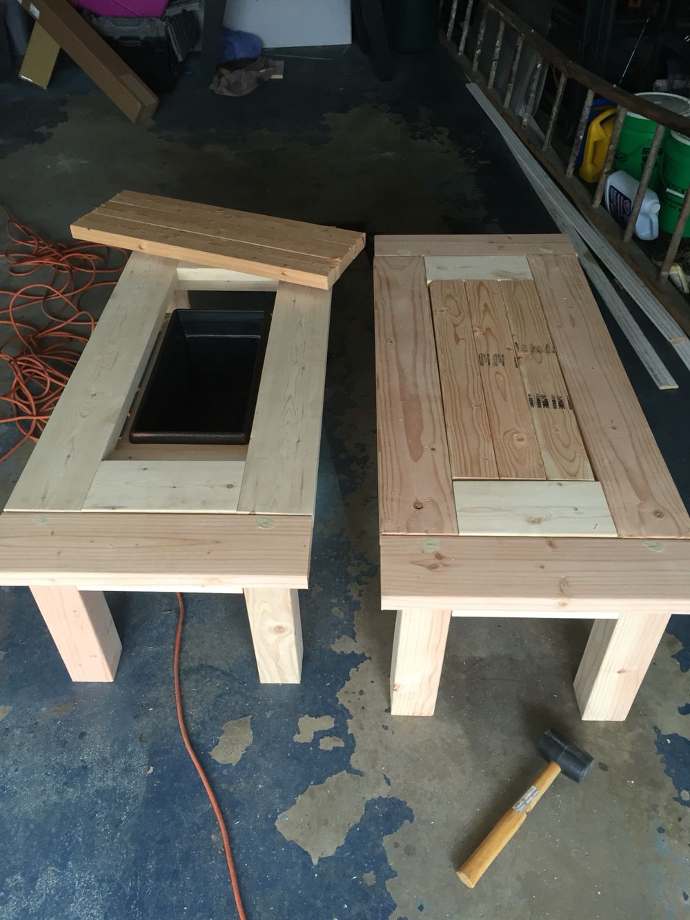 Great patio coffee tables with coolers! Diy patio