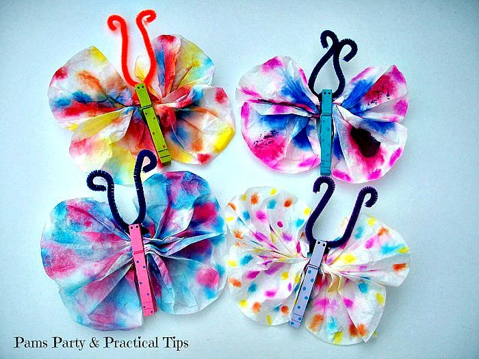 Butterfly crafts with coffee filters and butterfly candy for Coffee crafts