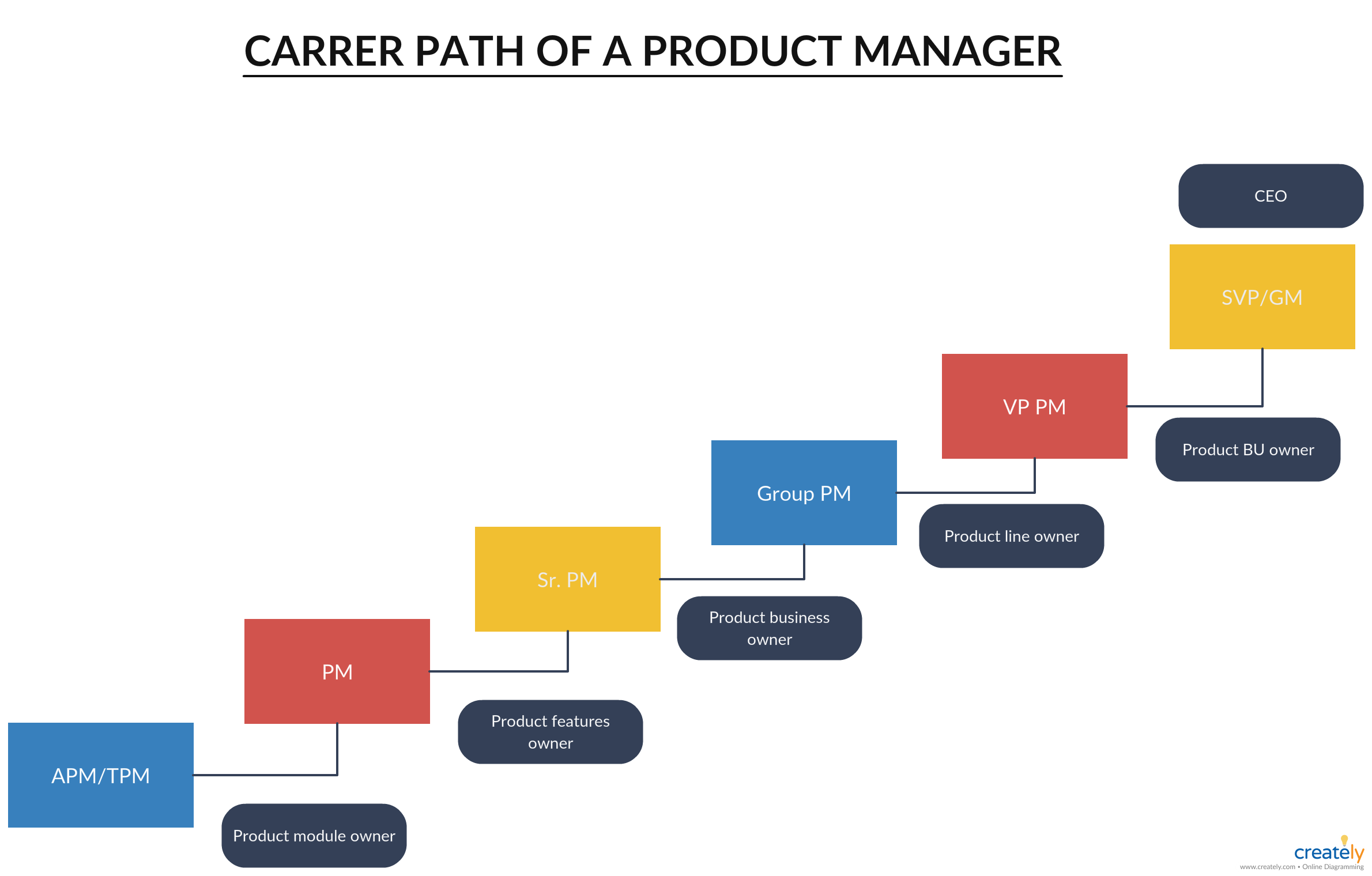 Product Manager Career Path You Can Edit This Template And Create Your Own Diagram Creately Diagrams Can Be Exported And Added Career Path Management Career