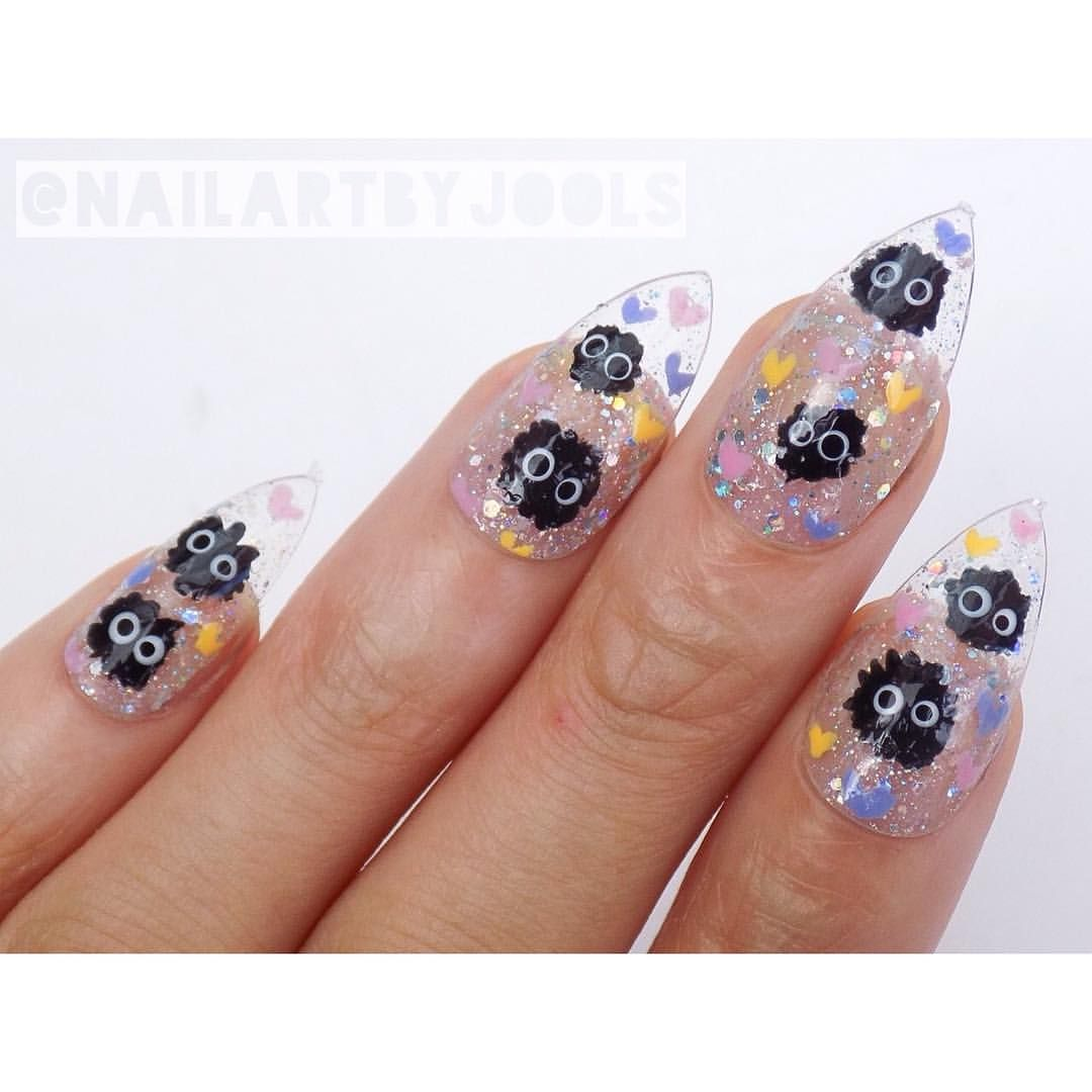 Nailartbyjools - Soot sprites & little hearts on clear glitter ...