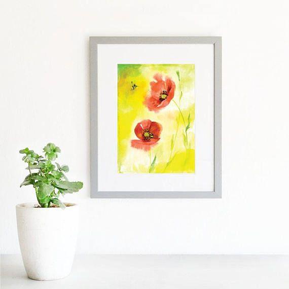 Floral Watercolour Art Print. Modern Flowers Wall Art. Red ...