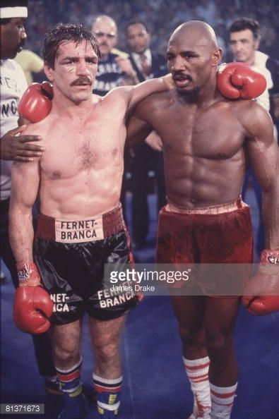Boxing Wbc Wba Middleweight Title Portrait Of Marvin Hagler And Vito Antuofermo After Match At Caesars Pal Marvelous Marvin Hagler Boxing Images Boxing History