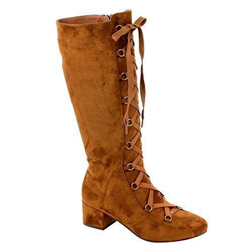 EE59 Women's Corset Lace Up Side Zipper Block Heel Knee High Boots