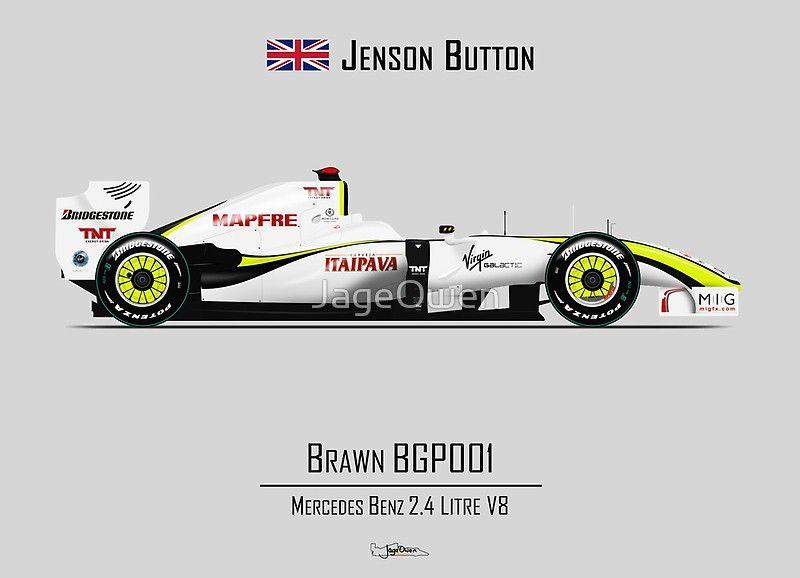 Jenson Button Brawn Bgp001 Art Board Print By Jageowen Formula 1 Car Formula 1 Formula Racing