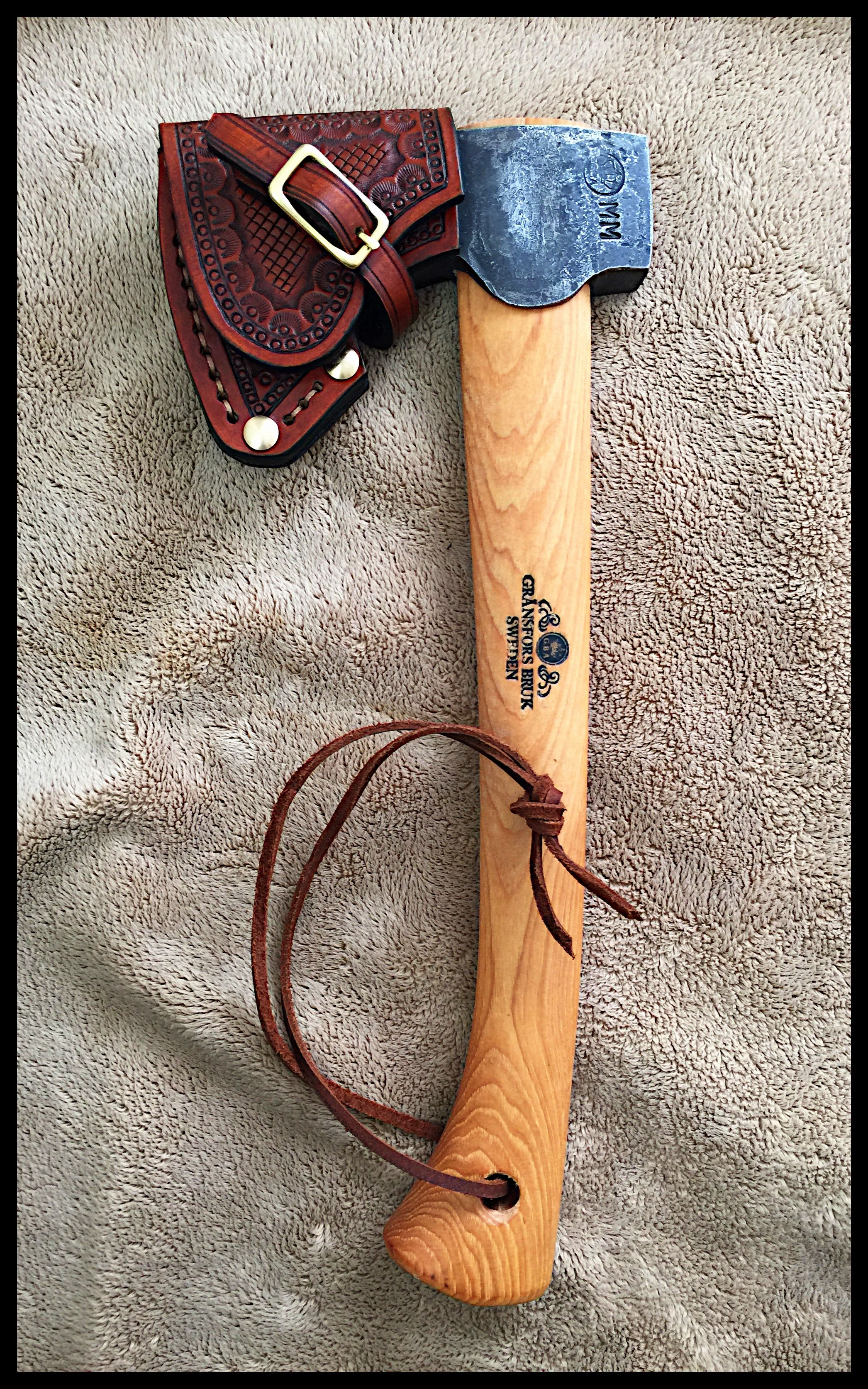Gransfors Bruks Wildlife Hatchet #415 with Custom Leather Sheath by