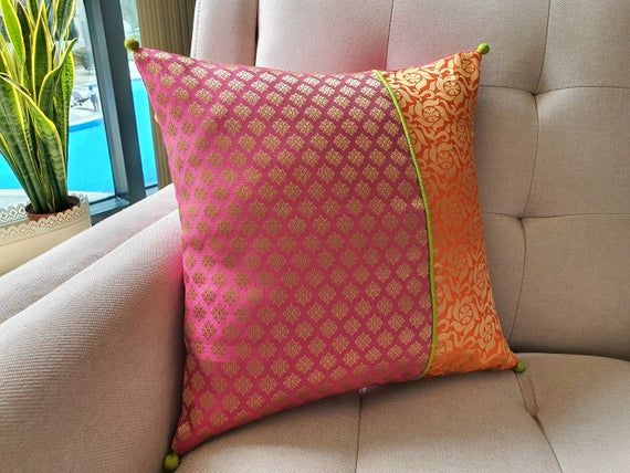 Bright Orange and Dark Pink Brocade Pillow Cover Pink   Etsy in 2021   Silk  pillow cover, Cushion cover designs, Pillows
