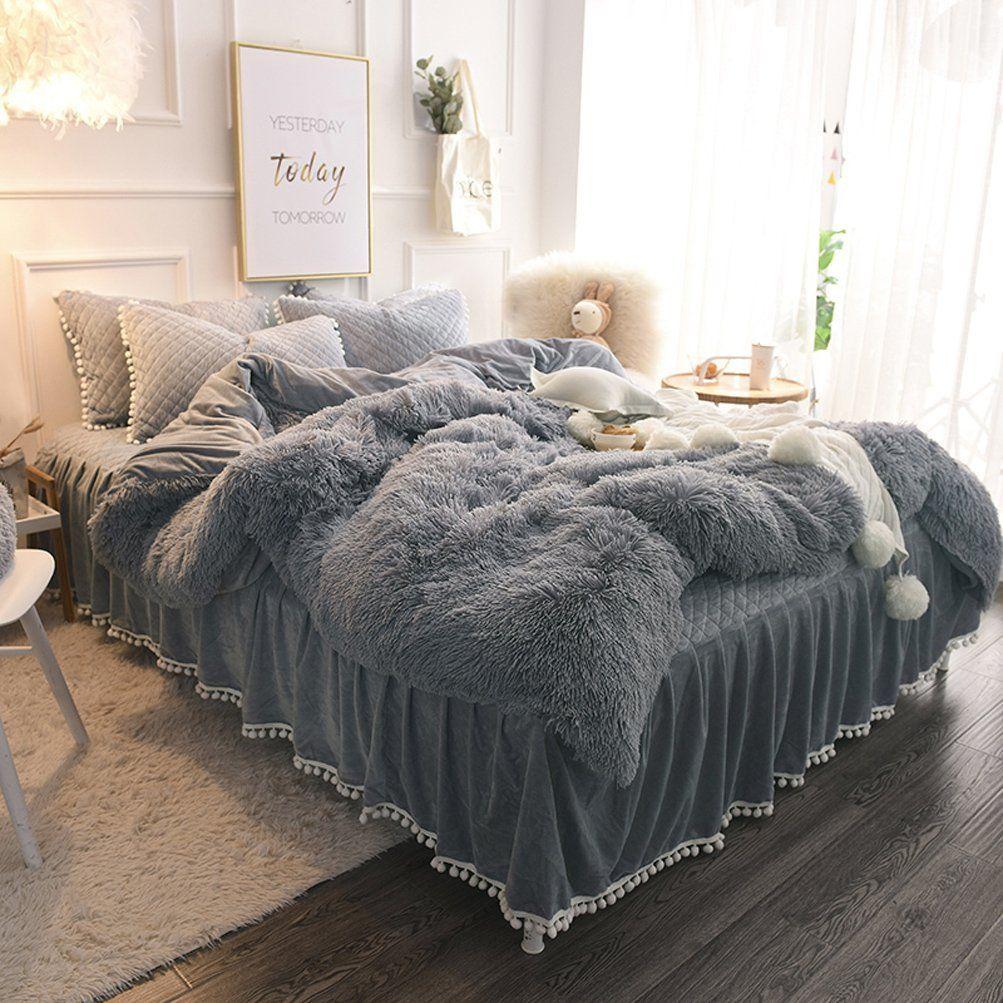 Amazon Com Liferevo Luxury Plush Shaggy Duvet Cover Set 1 Faux Fur Duvet Cover 2 Pompoms Fringe Pillow Shams Duvet Cover Sets Fringe Pillows Duvet Covers