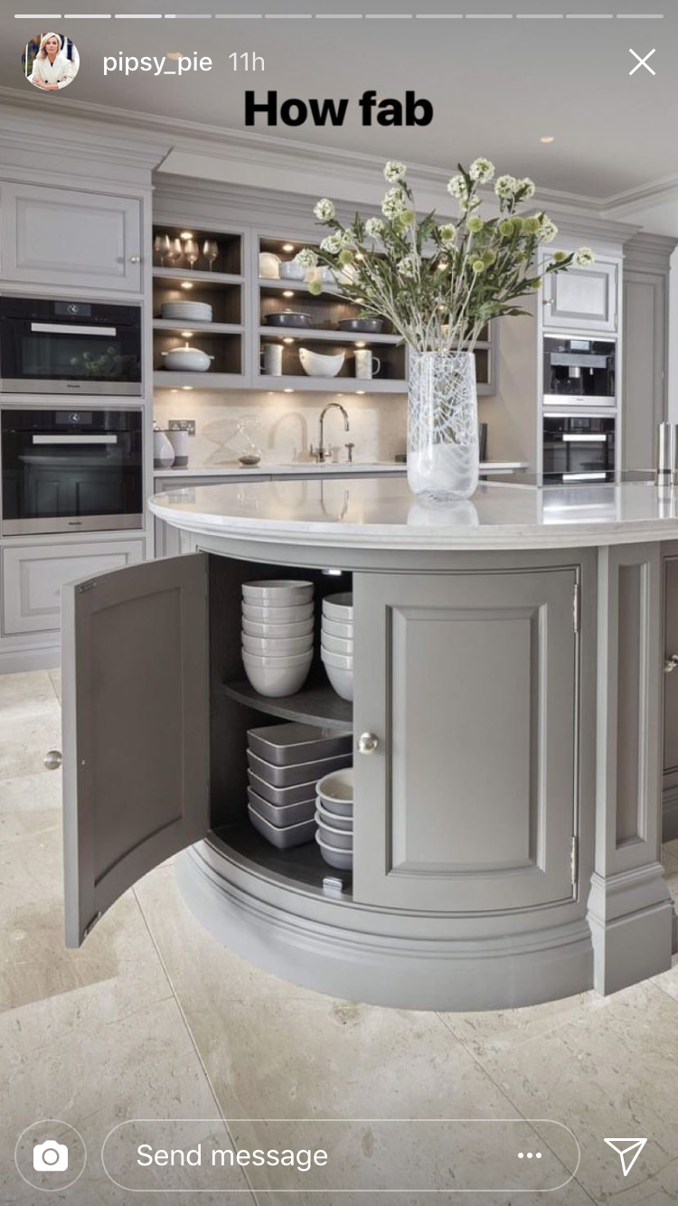 Cool Round Island End Cap With Cabinet But Mostly Look At The Sink Under Lighting Shelves In The Background Kitchen Design Home Kitchens Home Decor Kitchen