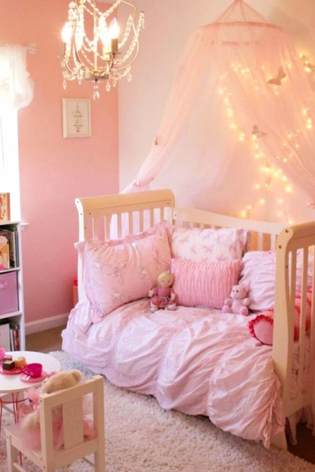 Pink Girls Bedroom Love The Pink Toddler Bed With Canopy St1222019 Sweet Princess Bedroom Idea Toddler Bedroom Girl Pink Bedroom For Girls Pink Toddler Bed