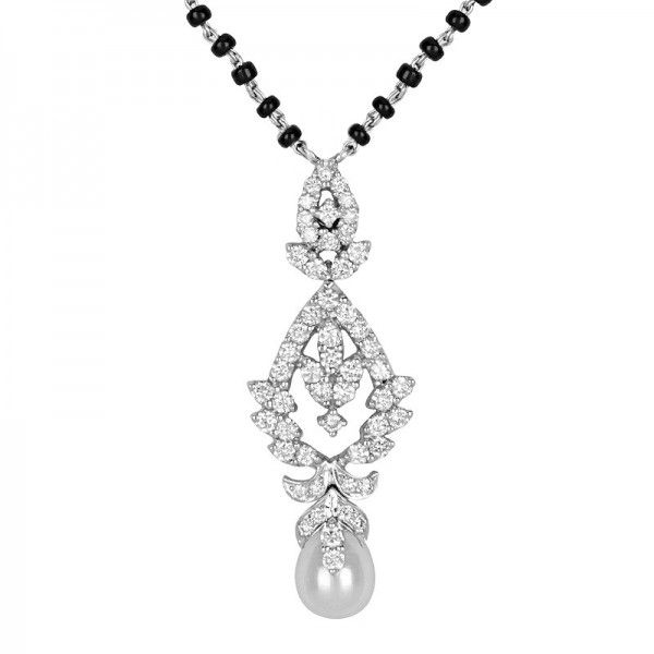#Diamond and #pearl #mangalsutra #pendantnecklace with #blackbeads , crafted in in 18 karat white gold. - See more at: https://www.rajjewels.com/18k-diamond-mangalsutra-dms5504.html#sthash.h2bVqRjX.dpuf