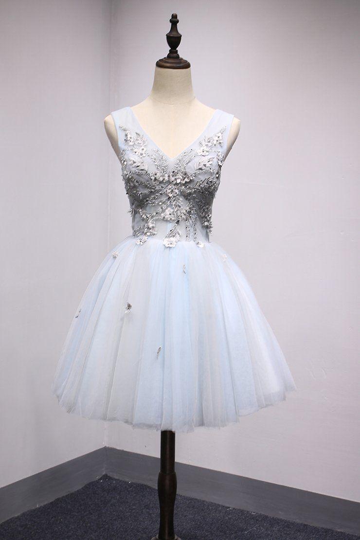 08b44b718a6 Light Blue and Grey V-neckline Short Cute Homecoming Dress