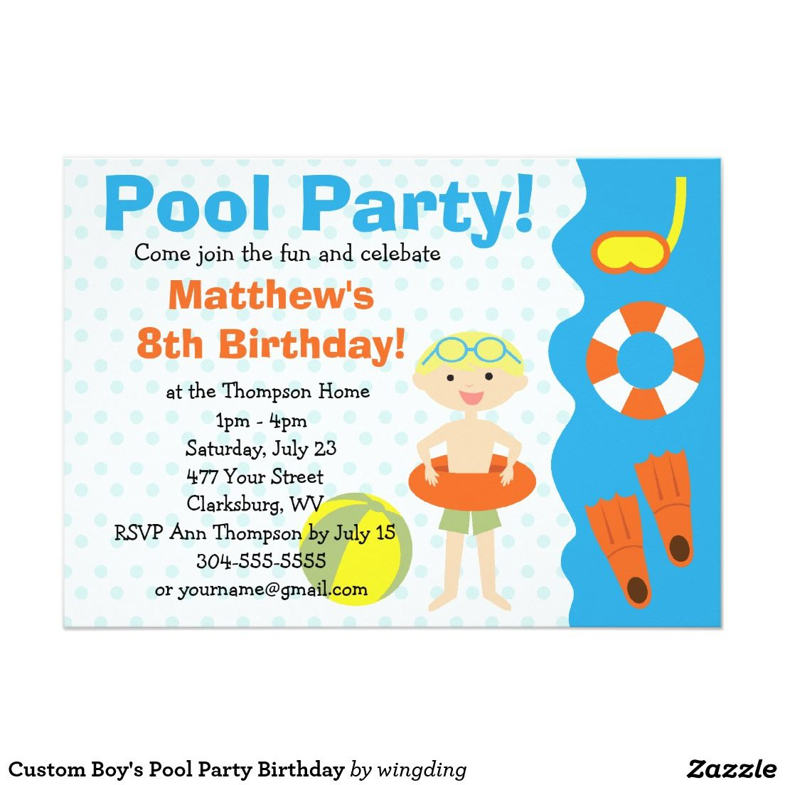 Custom Boy's Pool Party Birthday 5x7 Paper Invitation Card