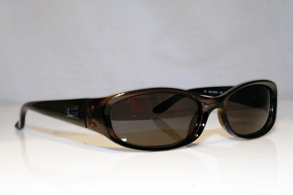 b235af1826072 eBay  Sponsored GUCCI Womens Vintage Designer Sunglasses Brown Rectangle GG  2456 E8K 17398