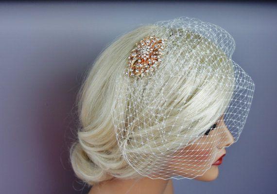 Rose Gold Brooch Birdcage Veil Blusher or by EleganceAtHand
