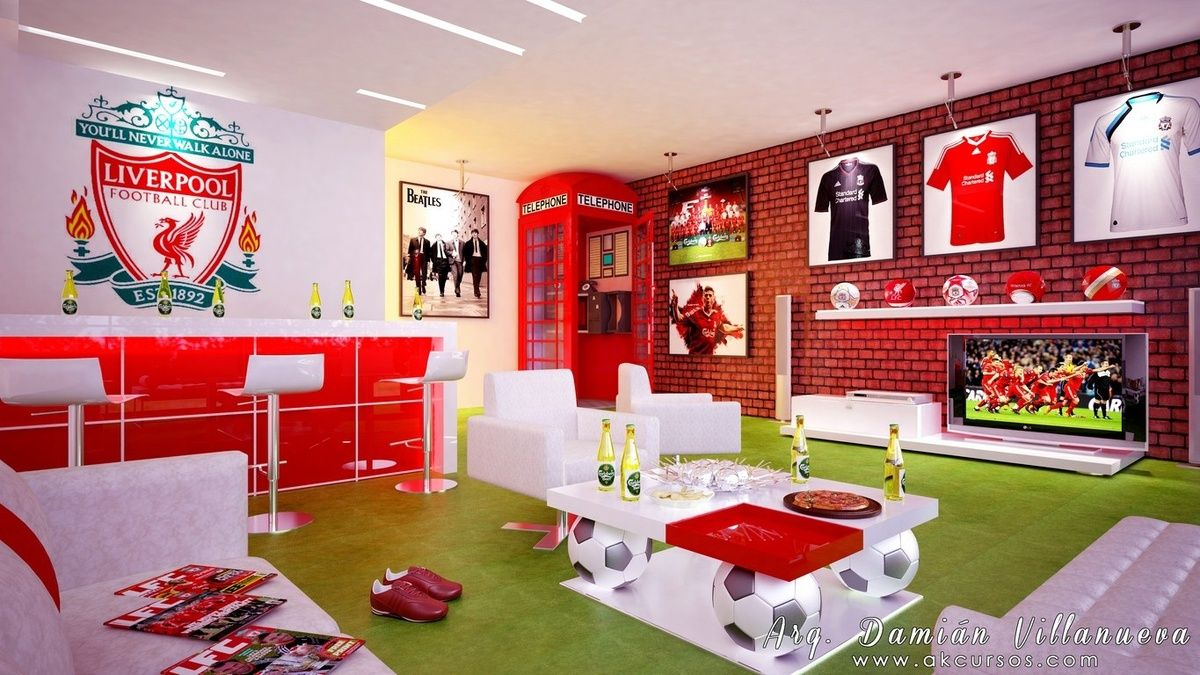 Liverpool Fc Bedroom Wallpaper Soccer Themed Man Cave Obviously Wouldnt Be Liverpool But I
