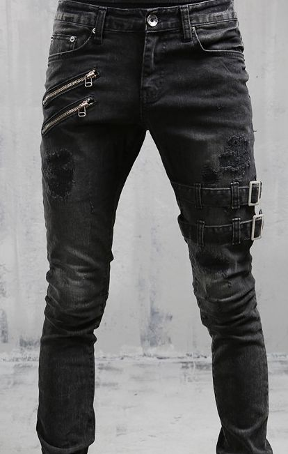 bf89376d355 TWO ZIPPER BUCKLE JEANS (14012204) - The Black 8