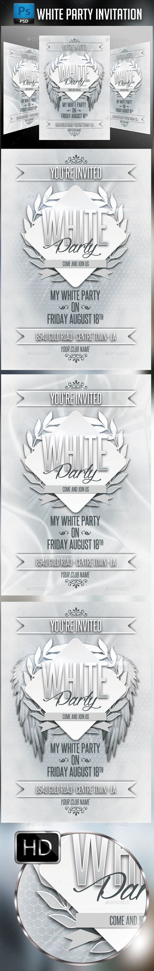 White Party Invitation  (CS, 4x6, classic, elegant, event, flyer, greeting, invitation, love, luxury, metal, modern, party, postcard, press, release, special, template, ticket, together, white)