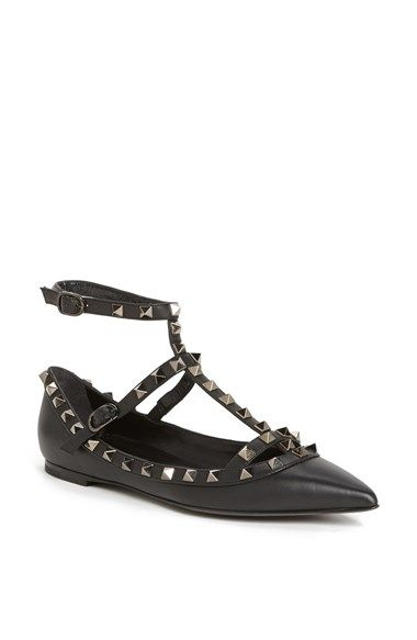 Valentino Women's 'Rockstud' Double Ankle Strap Pointy Toe Flat