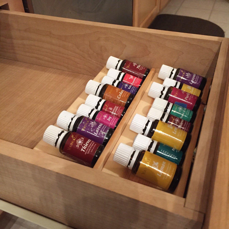 Storage Ideas For Essential Oils: Handmade Wooden Essential Oil Drawer Organizer